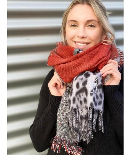 Echarpe chaude Shanna rouille léopard