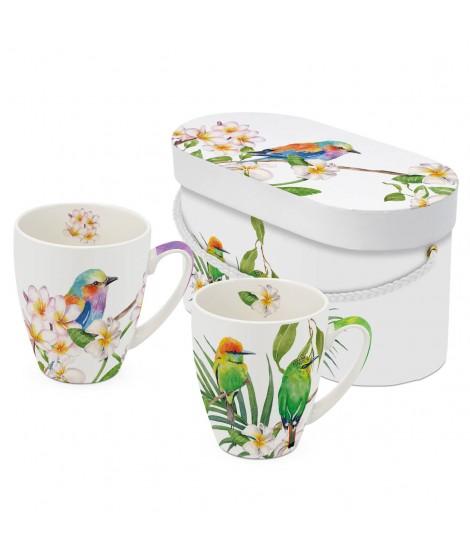 Coffret 2 mugs oiseaux