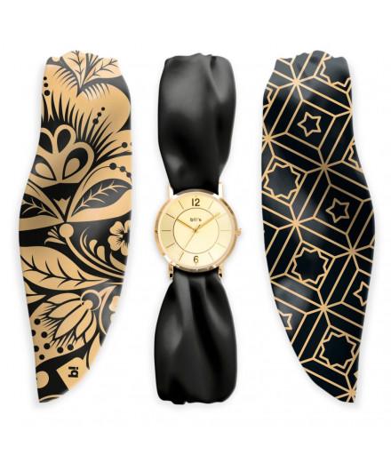 Montre bracelet en satin noir et or
